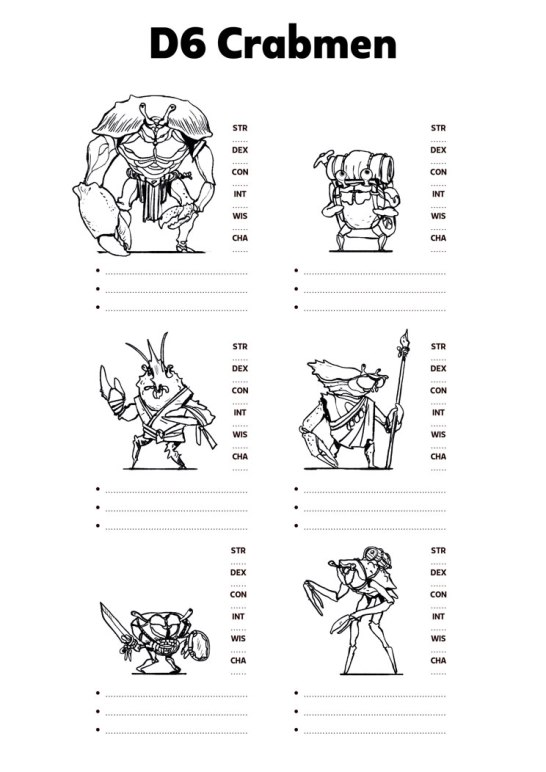 six character sheets with different depictions of crabmen.