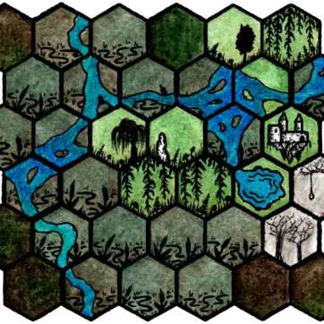 Hexmap of a swamp with a ruined manor and some haunted woods.