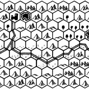 Hexmap in black and white, a road goes across the map.