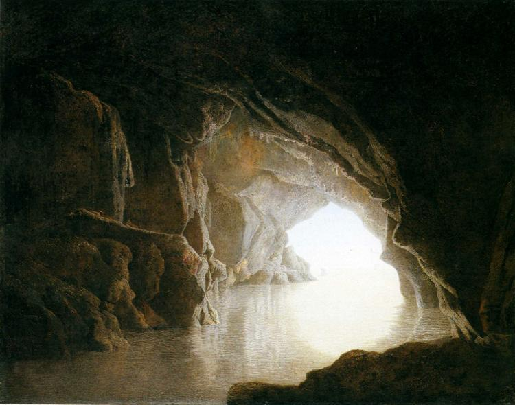 painting of a cavern leading out to sea