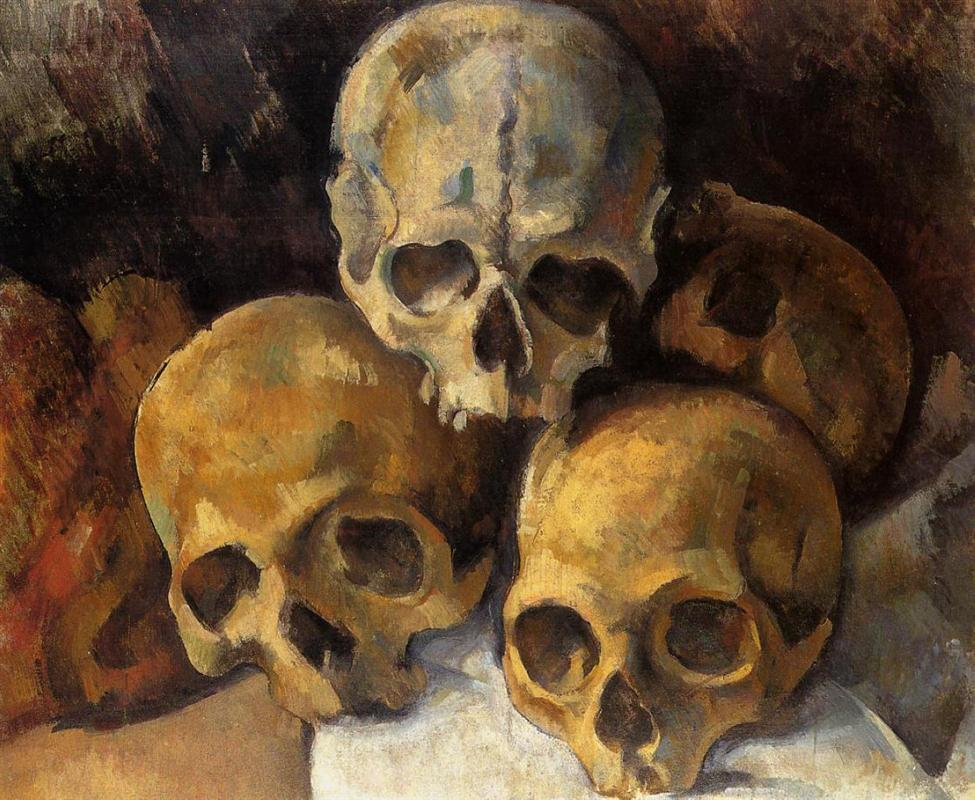oil painting of human skull stacked in pyramid