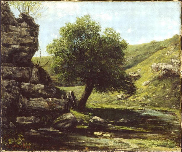 Painting of a tree next to a cliff in a valley
